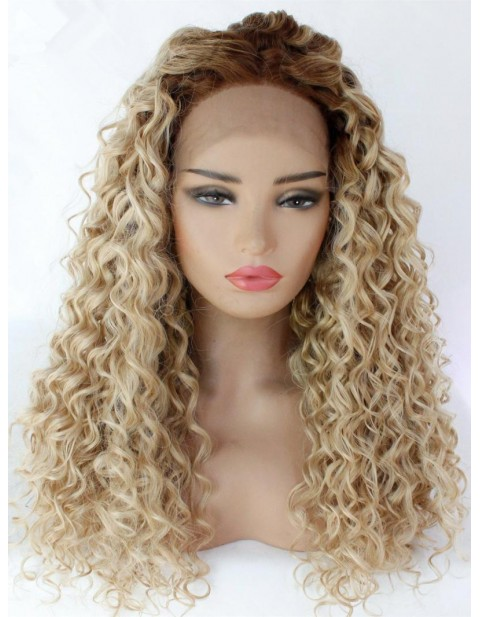 BLONDE CURLY FRONTAL WIG